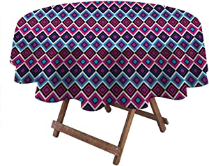 """Outdoor Tablecloth Geometric Outdoor/Indoor Waterproof Spillproof Vintage Colorful Abstract Diamond Line Pattern Psychedelic Sixties Inspired 70"""" Diameter Blue Pink Black"""