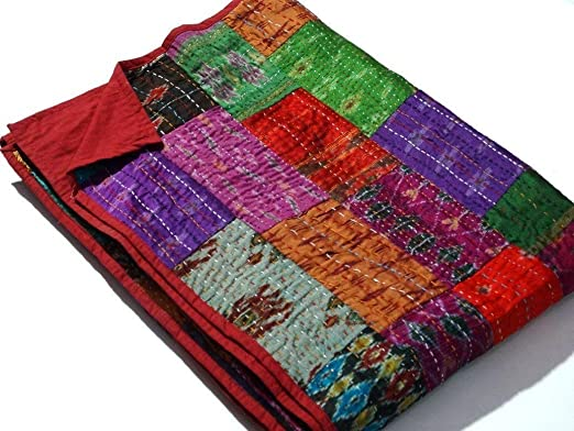 Indian Reversible Silk Kantha Quilt Multi Patchwork Bedding Blanket Throw Art