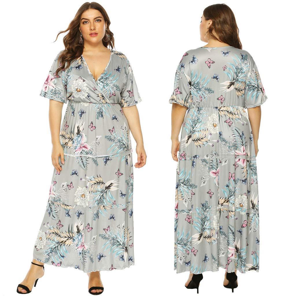 Zlolia Women's Plus Size Printed Maxi Dresses Ruffled Deep V Plunge Short Sleeve High Waist Bohemian Dress(L-4XL)