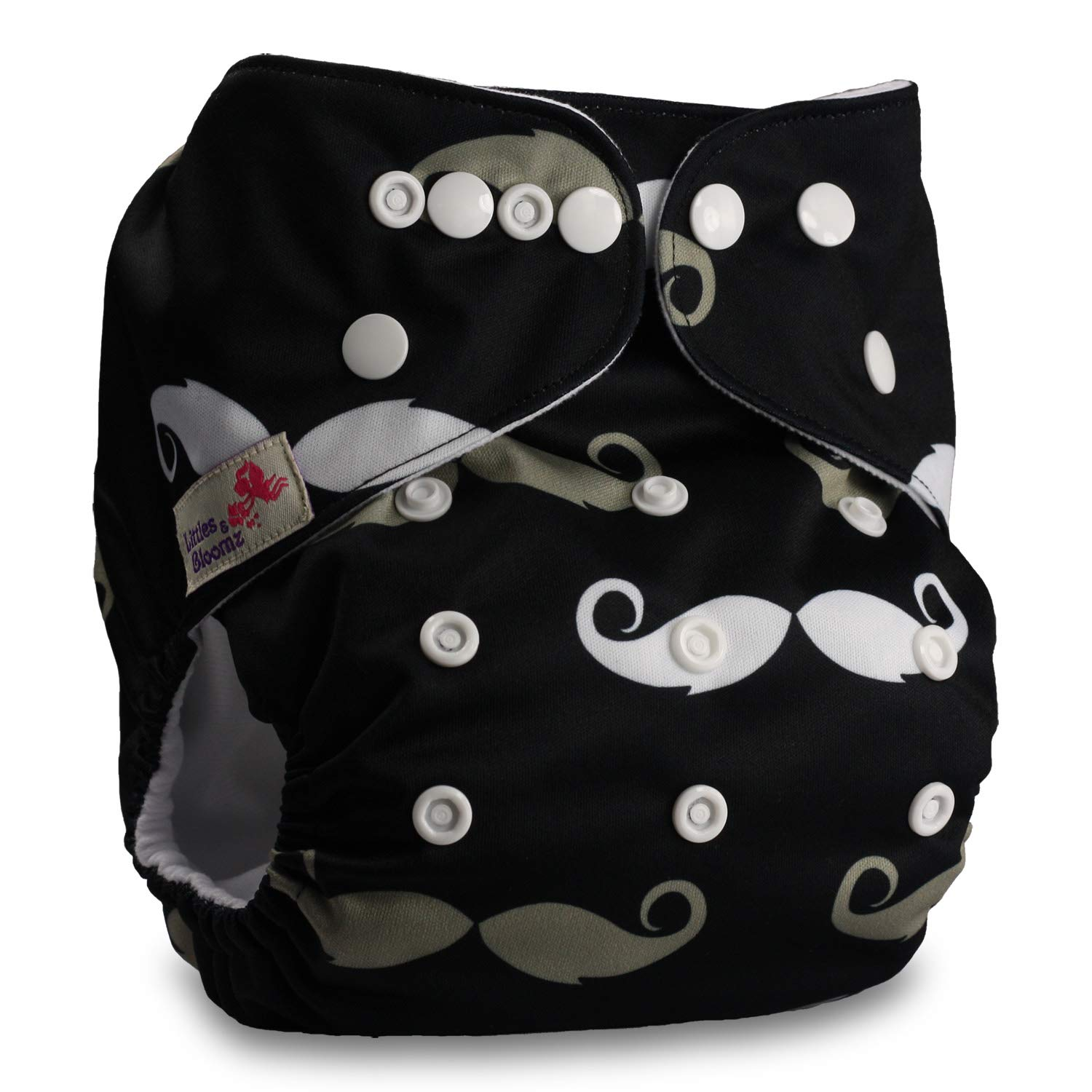 Littles & Bloomz, Reusable Pocket Cloth Nappy, Fastener: Popper, Set of 1, Pattern 62, With 2 Bamboo Inserts