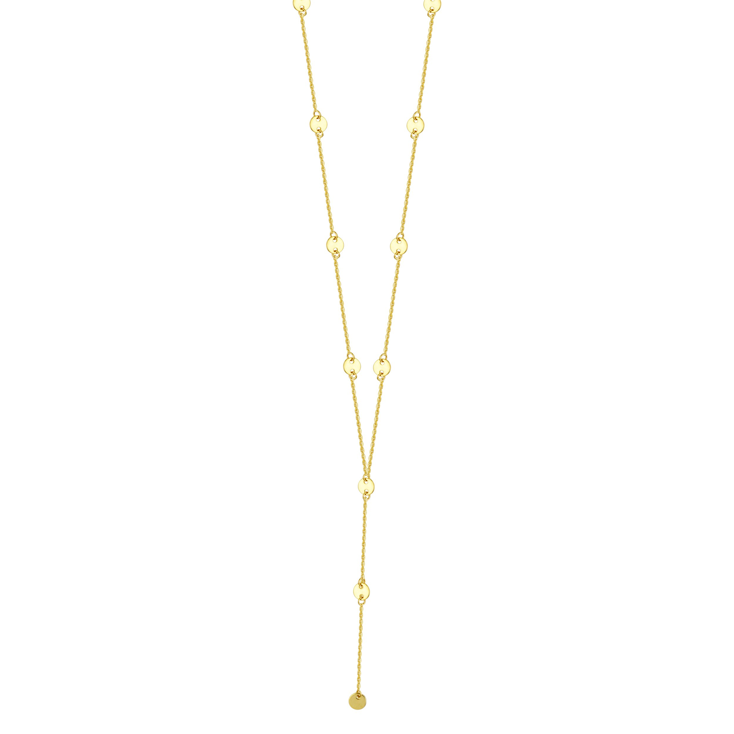 14k Yellow Gold Y-style Lariat Necklace with 4mm Disk Stations Adjustable Length by AzureBella Jewelry
