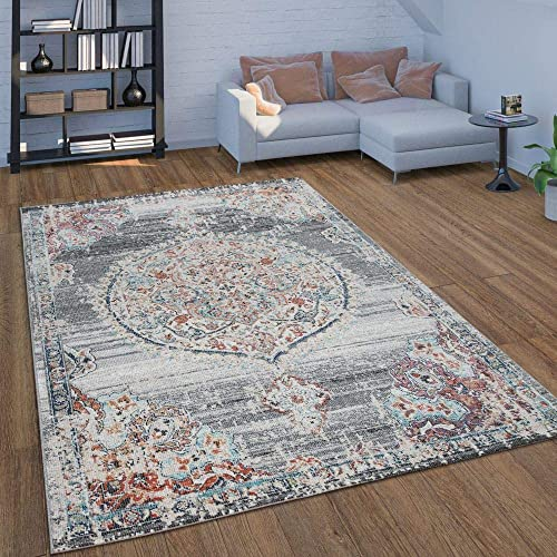 Indoor Outdoor Area Rug, Short-Pile for Balcony or Patio, Oriental Pattern in Grey, Size 6 7 x 9 2