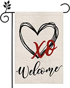 CROWNED BEAUTY Valentines Day Garden Flag 12×18 Inch Vertical Double Sided Valentine Welcome Flag Heart XO for Outside Yard Anniversary Wedding Farmhouse Décor CF009-12