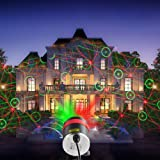 Garden Laser Light,HOSYO 8 in 1 Patterns Red&Green Waterproof Laser Starry Projector Landscape Spotlight with Remote for Parties Holidays Outdoor Garden Decoration