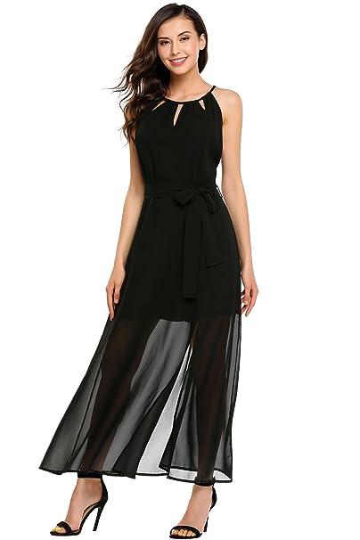 14795e5502887 Zeagoo Women Sleeveless Halter Neck Chiffon Slit Maxi Dress for Beach  Wedding Party