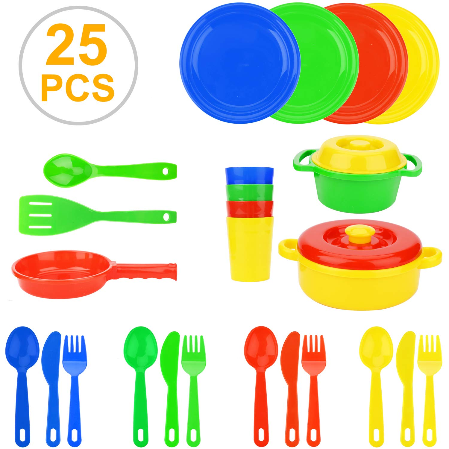 Flormoon Play Dishes Toys - 25pcs Pretend Play Cooking Toys Set - Safe, Eco-Friendly, Realistic - Kids Serving Dishes Tableware Dishes Playset - Kitchen Toys Set for Kids Boys Girl 3+