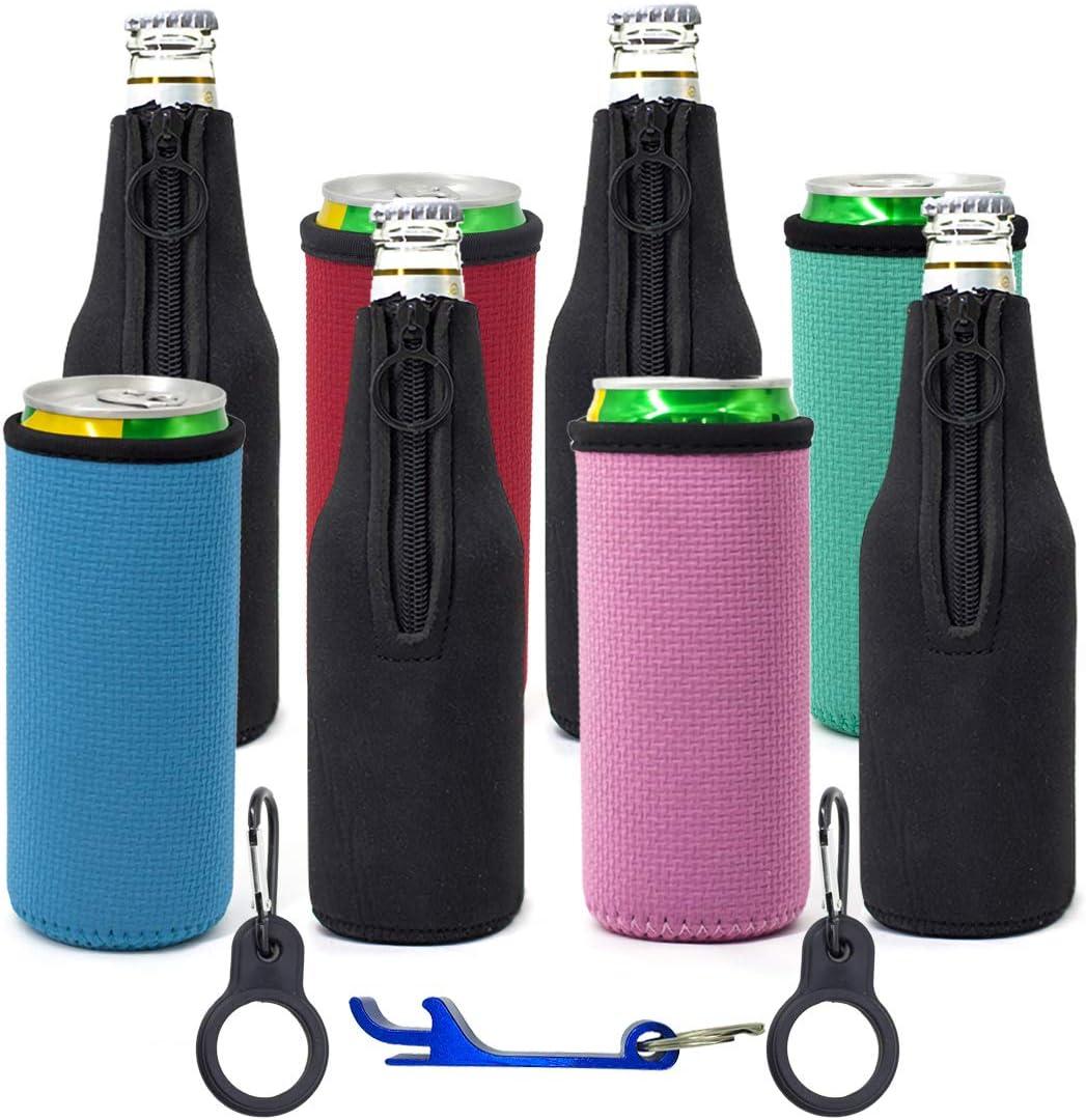 Kvvdi 8-pack Beer Insulator Bottle Sleeves, 4mm Thicker Neoprene Cooler for 12oz / 330ml Beverage
