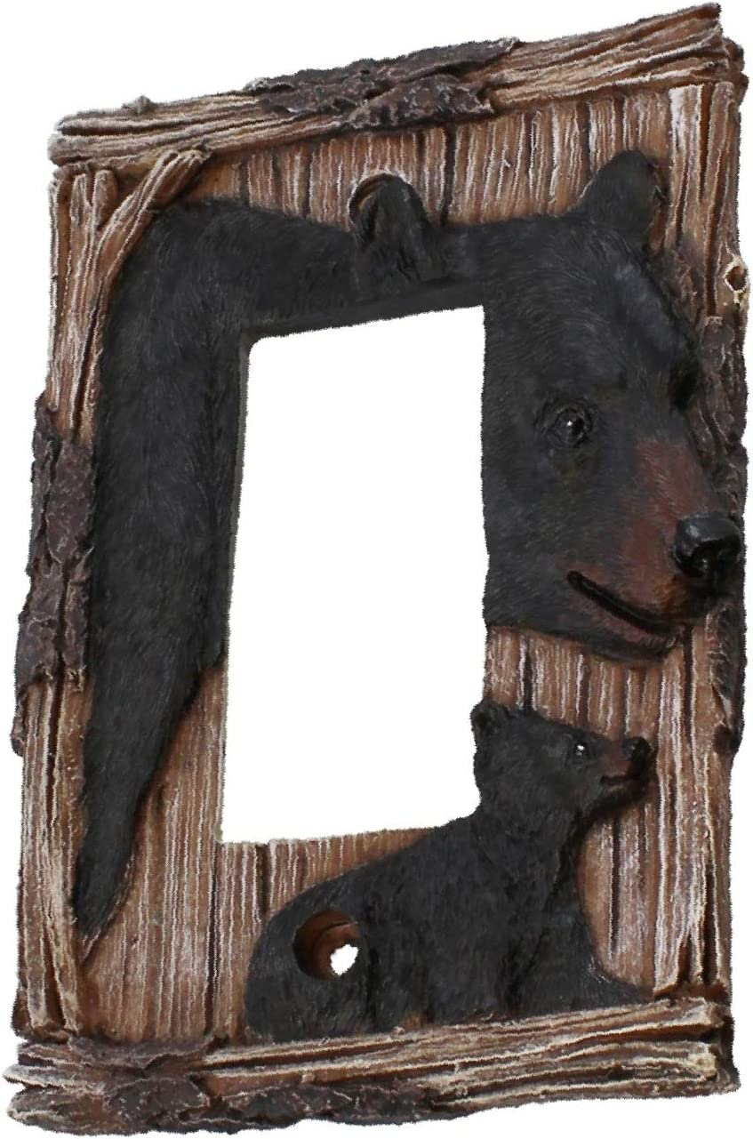 Top Brass Home Decor Bear Themed Electrical Cover Plate - Single, Double, Rocker, Outlet (Rocker Switch)