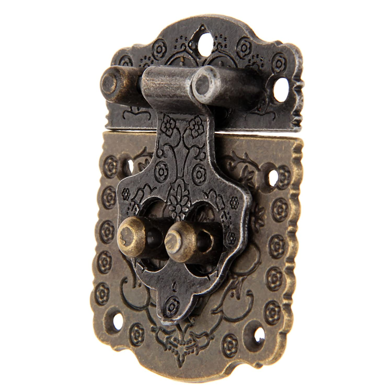 5Pcs 53x41mm Antique Brass Hasp Lock Latch with Screws for Jewelry Wooden Box Case Decoration