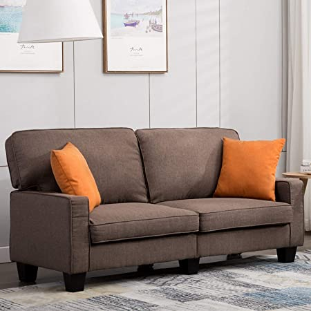 Mecor Loveseat Sofa Couch Fabric Loveseat Couch Classic Modern Sofa 68 Inch Living Room Furniture Brown