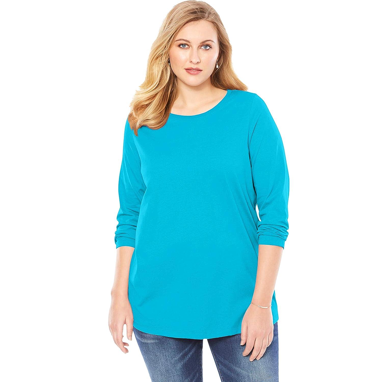 Roamans Womens Plus Size Long-Sleeve Crewneck Ultimate Tee