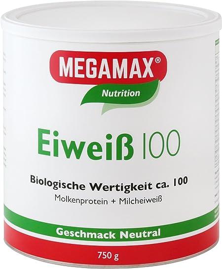 MEGAMAX - Eiweiss - Proteínas de suero de leche y proteínas lácteas - Crecimiento muscular y dieta - Valor biológico aprox. 100 - Neutro - 750 g