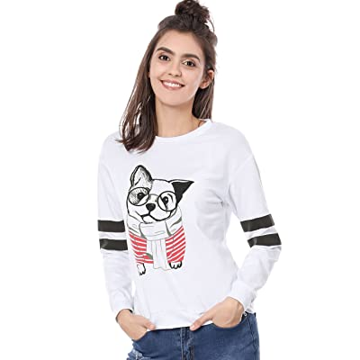 Allegra K Women's Crew Neck Stripes Long Sleeves Dog Print Sweatshirt