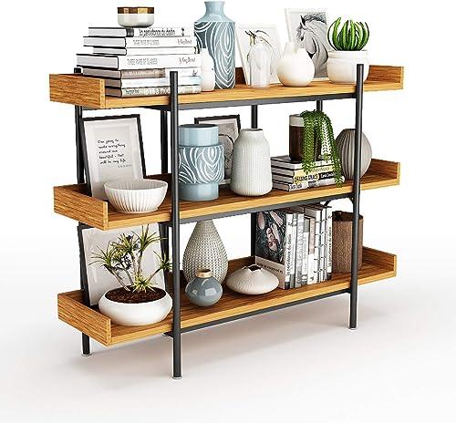 DEWEL Industrial Bookshelf Open Bookcase Storage Rack Metal and Wood Bookcase 36.2'' Bookcase Furniture Standing Storage Shelf Units