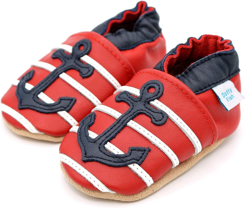 4-5 Ans 0-6 Mois Dotty Fish Chaussures Cuir Souple b/éb/é et Bambin Pantoufles pour gar/çons avec Voitures et Animaux.