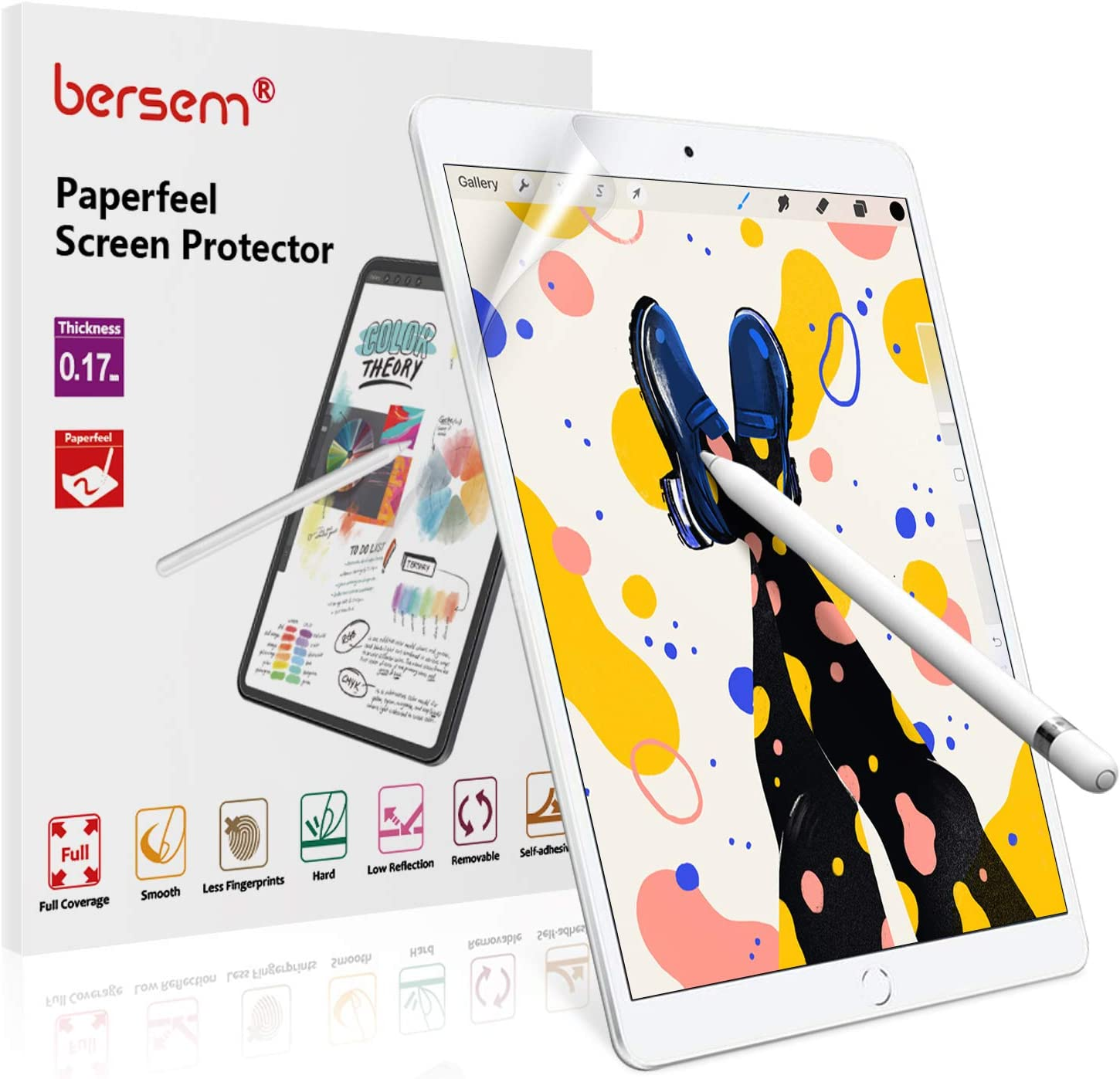 BERSEM[2 PACK]Paperfeel Screen Protector for iPad 8/7 (10.2-Inch, 2020/2019 Model, 8th / 7th Generation), Paperfeel iPad 10.2 Matte Screen Protector Anti Glare With Easy Installation Kit Write and Draw Like on Paper