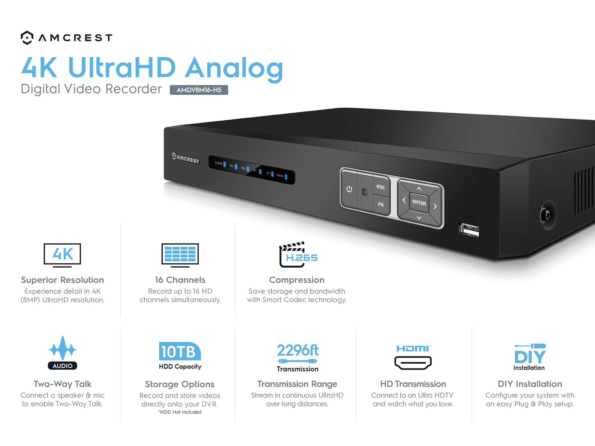 Amcrest 4K UltraHD 16 Channel DVR Security Camera System Recorder, 8MP Security DVR for Analog Security Cameras & IP Cameras, Remote Smartphone Access, Hard Drive & Cameras NOT Included (AMDV8M16-H5) by Amcrest (Image #2)