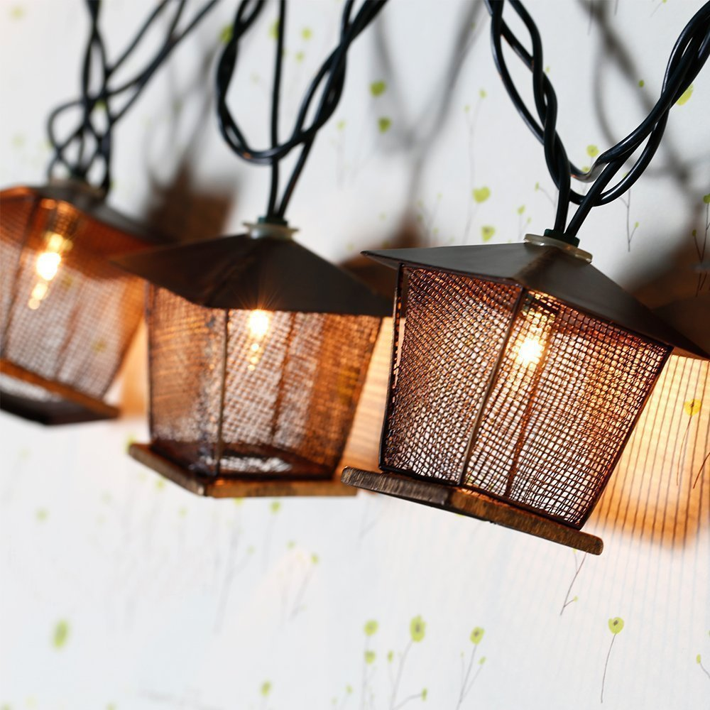 4.9ft 10 Bulb Vintage Bronze Iron Nets Lanterns Plug-in String Lights. Great For Indoor/Outdoor Xmas Wedding Party Home Bedroom Curtain Patio Lawn Holiday Decoration Best Ambience Decorative Lights