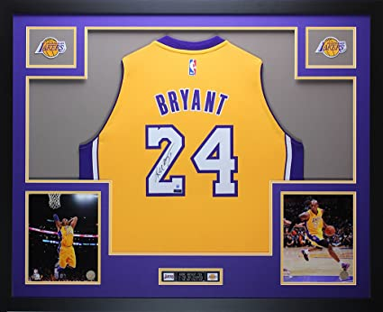 half off 62ede bd5fa Kobe Bryant Autographed Gold Lakers Jersey - Beautifully ...