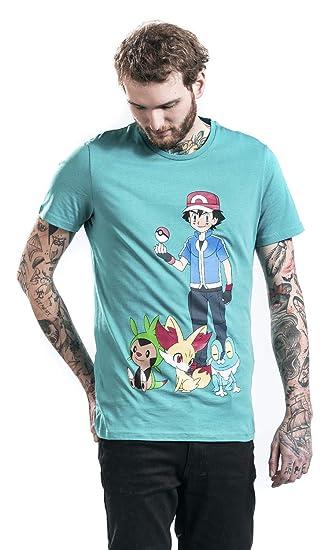 58886858 Pokemon Ash Ketchum T-Shirt Turquoise: Amazon.co.uk: Clothing
