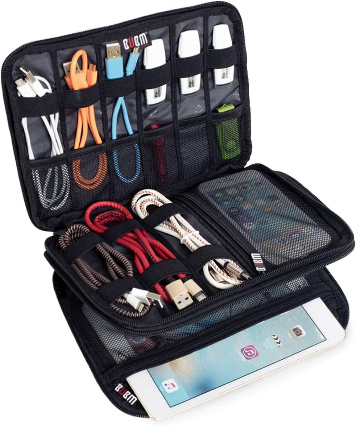 Medium, Black BUBM Double Layer Travel Gear Organiser//Electronics Accessories Bag