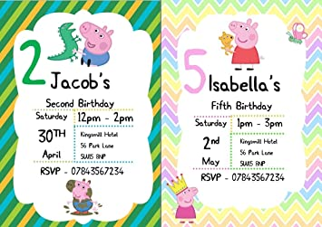 Rainbow Sensation 10 PERSONALISED A5 Peppa Pig Birthday Party