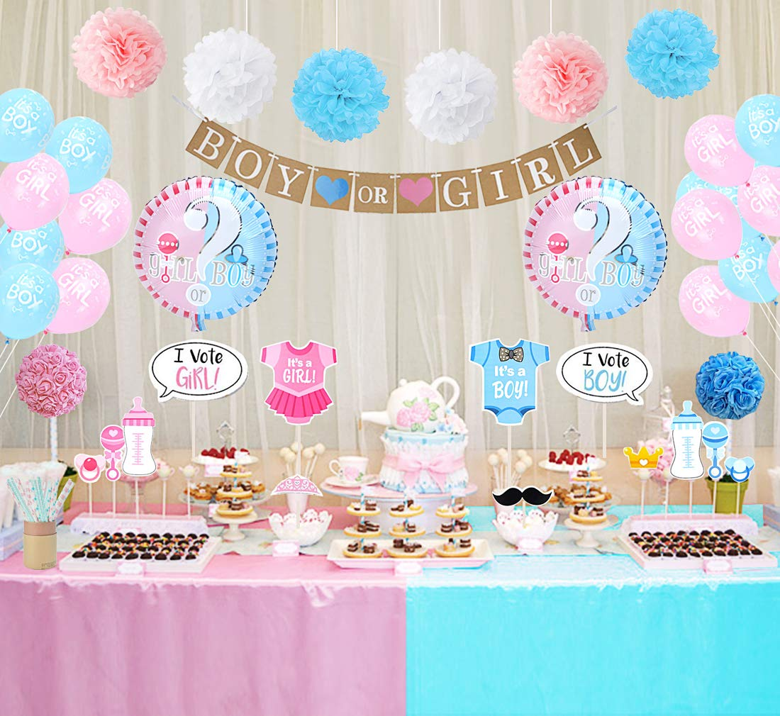 Amazon.com: Gender Reveal Party Decorations Boy or Girl Gender Reveal  Balloons Photo Booth Props Straws for Baby Shower Decorations 84 Pack: Toys  & Games