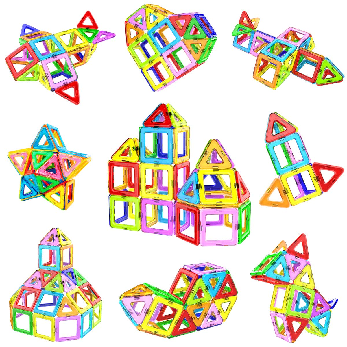 Jasonwell 68 Pcs Magnetic Tiles Building Blocks Set for Boys Girls Preschool Educational Construction Kit Magnet Stacking Toys for Kids Toddlers Children Age 3 4 5 6 7 8 Year Old ... by Jasonwell