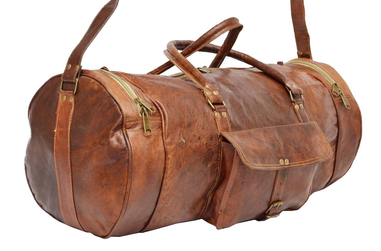b6034d8cbc Digital Rajasthan Real Goat Leather Handmade Travel Luggage Overnight  Duffel Bag in Round Shape Size 22