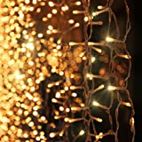 Zanflare 3Mx3M 300LEDs LED Curtain Light, 8 Modes Window Curtain Icicle Lights String Fairy Lights for Christmas Wedding Party Home Bedroom Lighting Decoration, Memory Function, Warm White