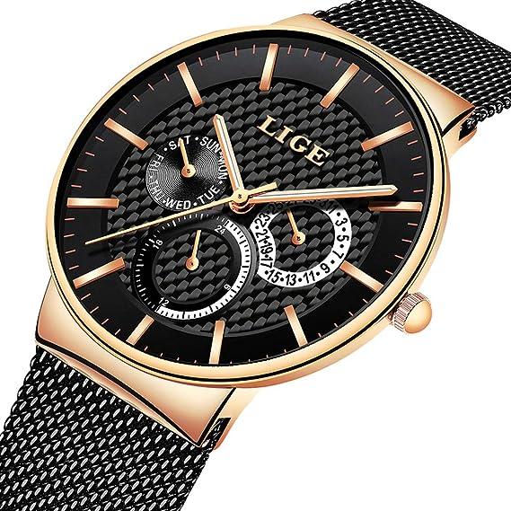 dd2d25111ebe Reloj LIGE para Hombre Moda de Acero Inoxidable Resistente al Agua Relojes  de Cuarzo Analógicos Vestido Negocios Reloj Oro Rosa Negro Movimiento de  Moda ...