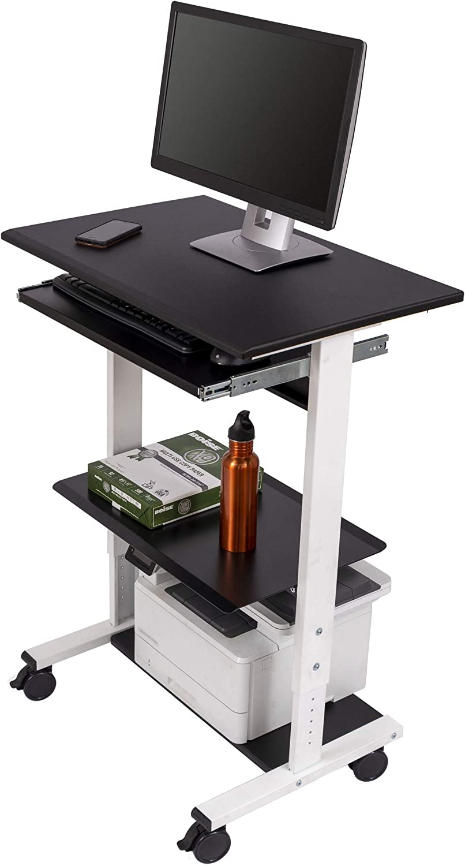 Mobile Adjustable Height Stand Up Workstation (White & Black)
