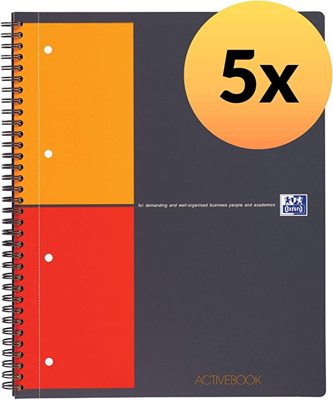 Oxford International - Pack de 5 cuadernos espiral microperforados, tapa plástico, A4+: Amazon.es: Oficina y papelería