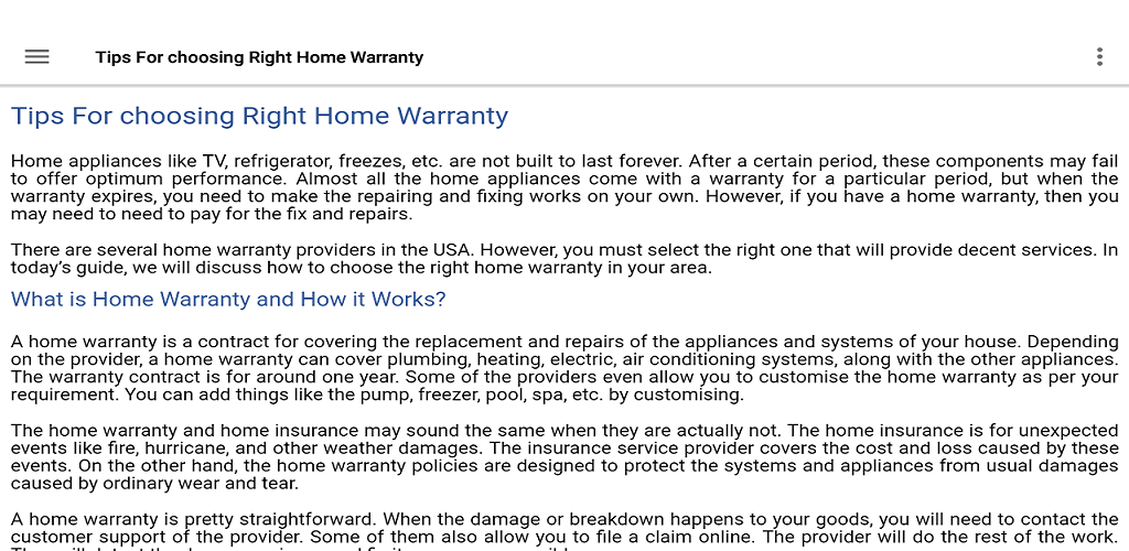 Amazon Com Tips For Choosing Right Home Warranty Appstore For Android