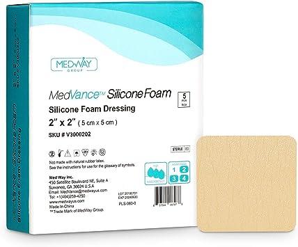 MedVancTM Silicona: apósito absorbente de espuma adhesiva de silicona, 5 cm x 5 cm, caja de 5 apósitos: Amazon.es: Salud y cuidado personal