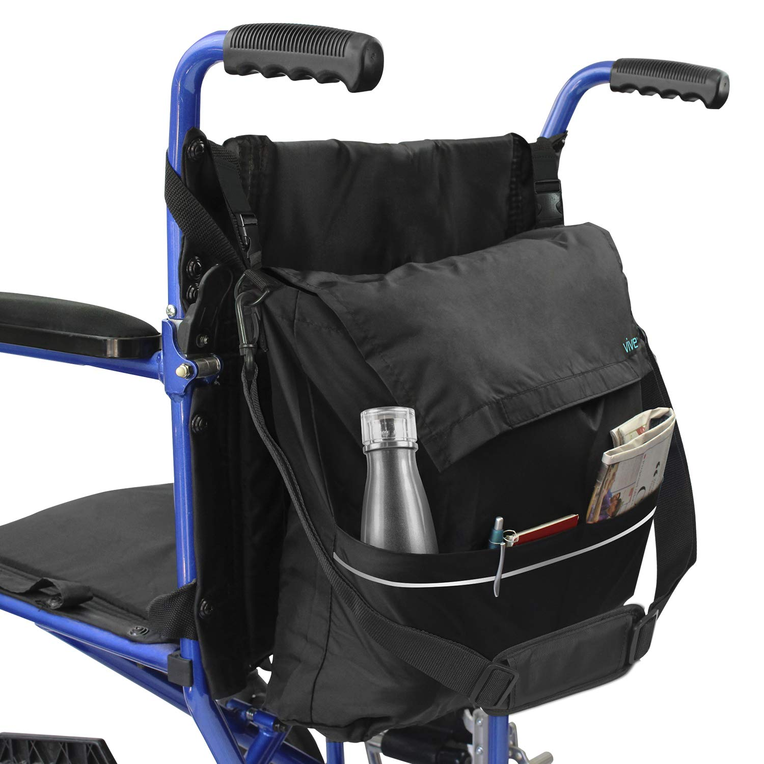 Vive Wheelchair Bag - Wheel Chair Storage Tote Accessory for Carrying Loose Items and Accessories - Travel Messenger Backpack for Men, Women, Handicap, Elderly - Accessible Pouch and Pockets, Black by Vive