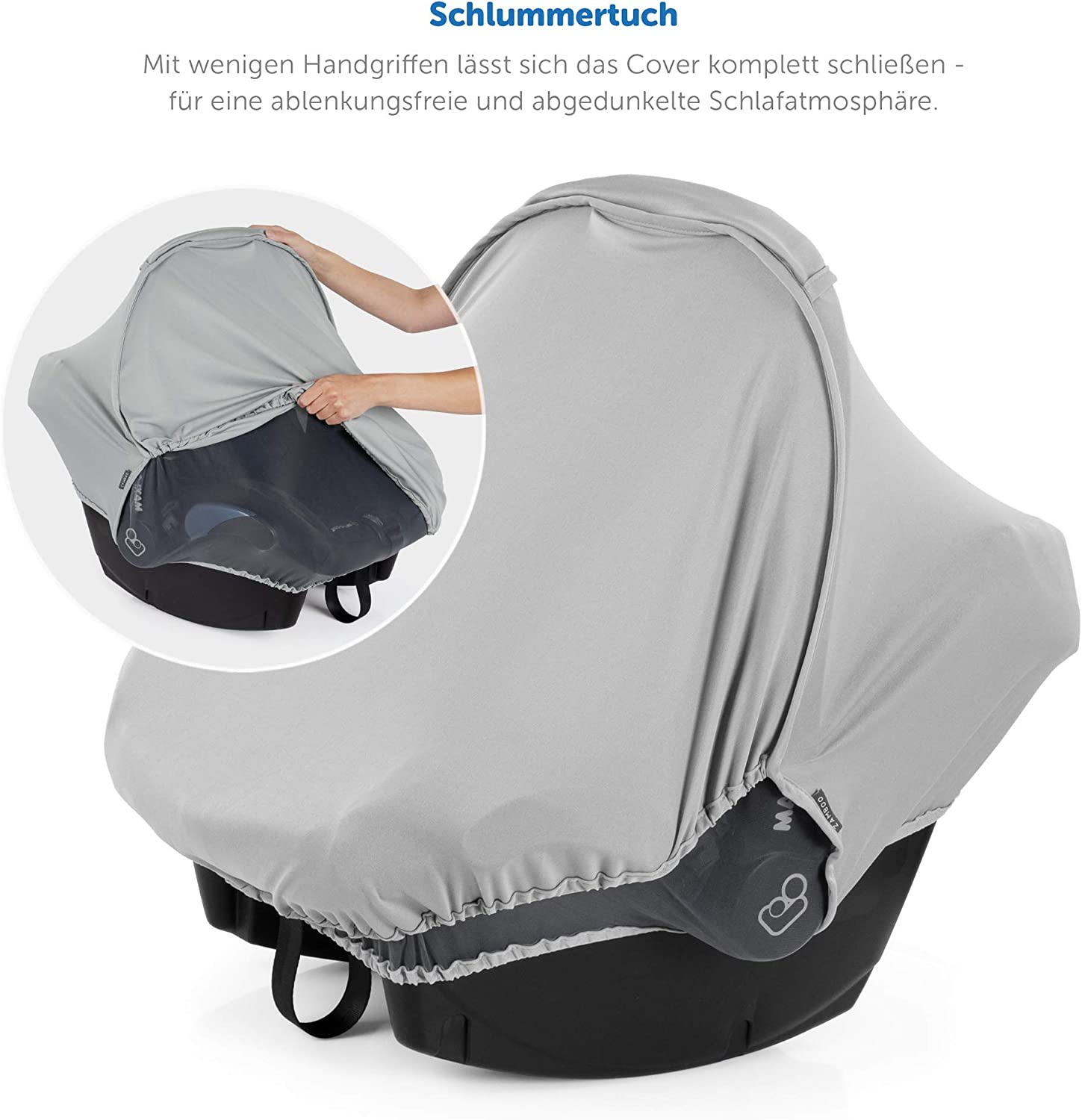 Baby Car Seat Cover Zamboo Infant Car Seat Mosquito Net and Blackout Cover to fit Maxi-Cosi // Cybex // Graco // Britax // Joie // Cosatto 3 in 1 Infant Car Seat Sun Shade with UV Protection - Grey