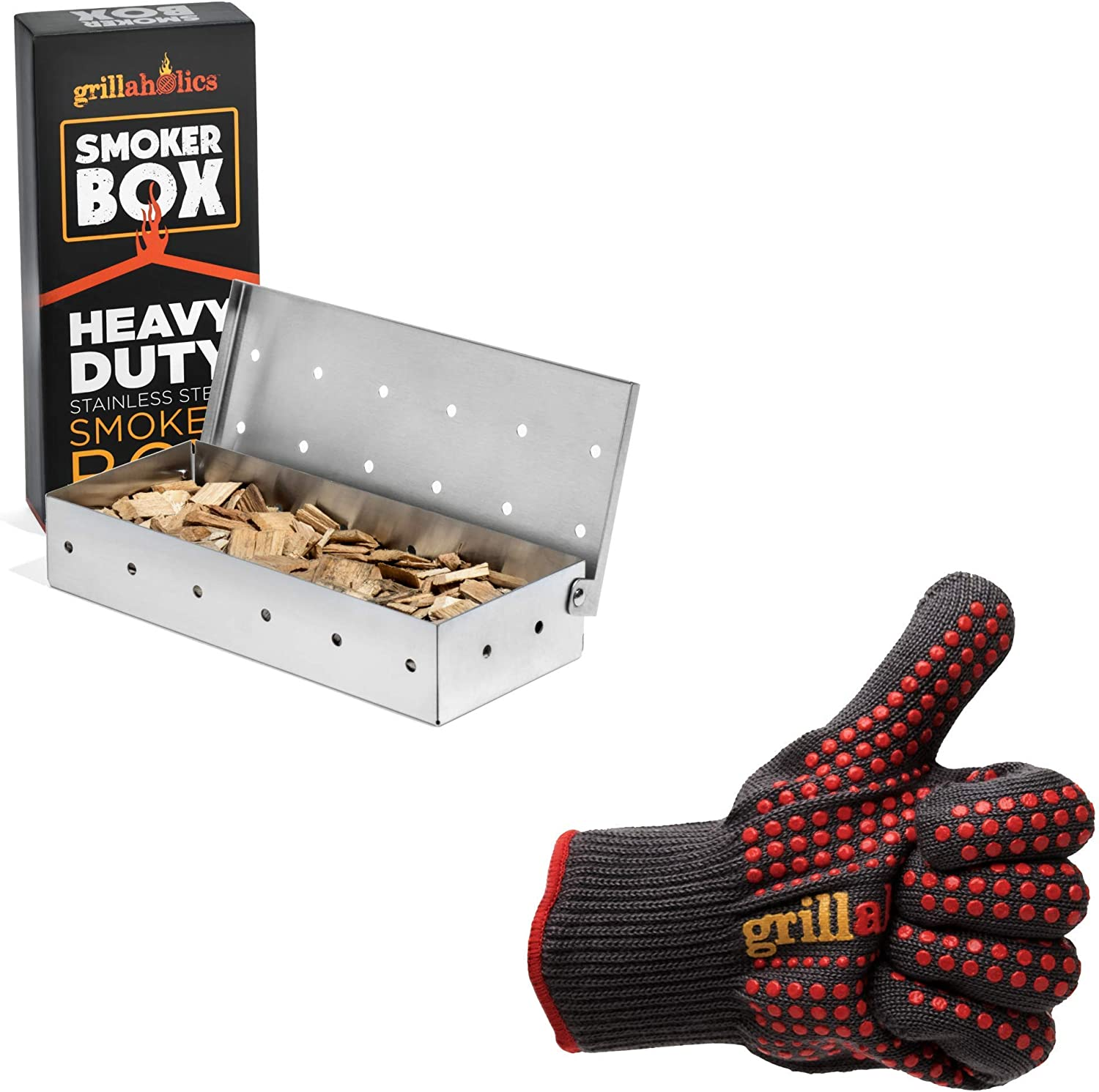 Grillaholics Stainless Steel Smoker Box & Heat Resistant Grill Gloves Bundle