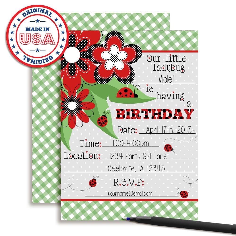 Amazon.com: Little Ladybug Birthday Party Invitations for Girls, Ten ...