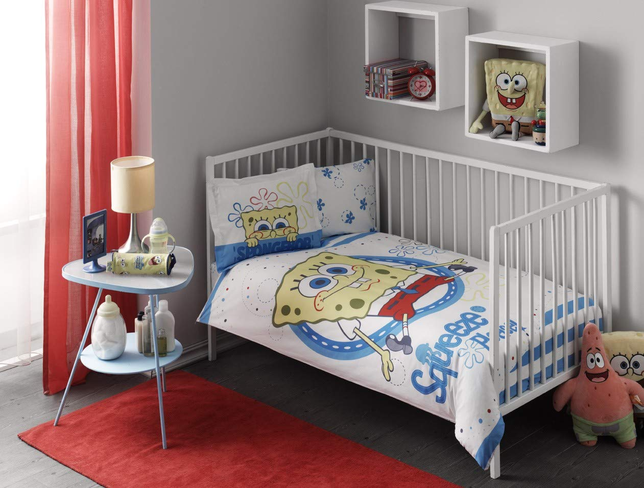 100% Cotton Baby Bedding Spongebob Themed Nursery Baby Bed Set, Toddlers Crib Bedding for Baby Girls, Duvet Cover Set with Comforter, 5 Pieces 715dwM8nMwL._SL1261_