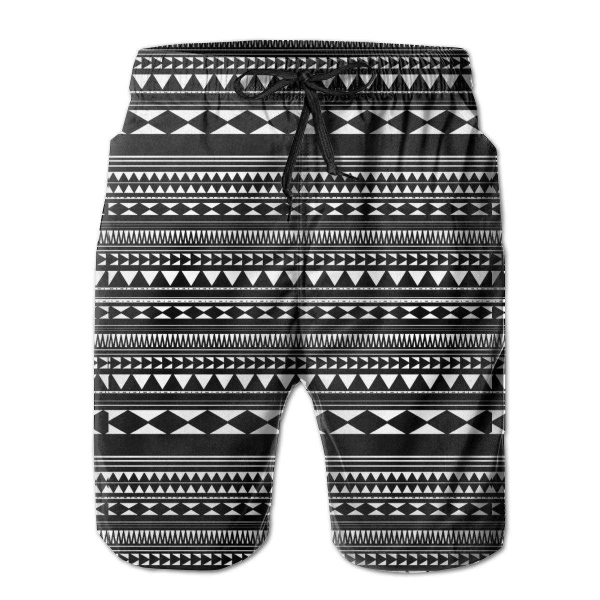 WMDJEG Geometric Retro Pattern Mens Summer Beachwear Sports Running Swim Board Shorts Mesh Lining
