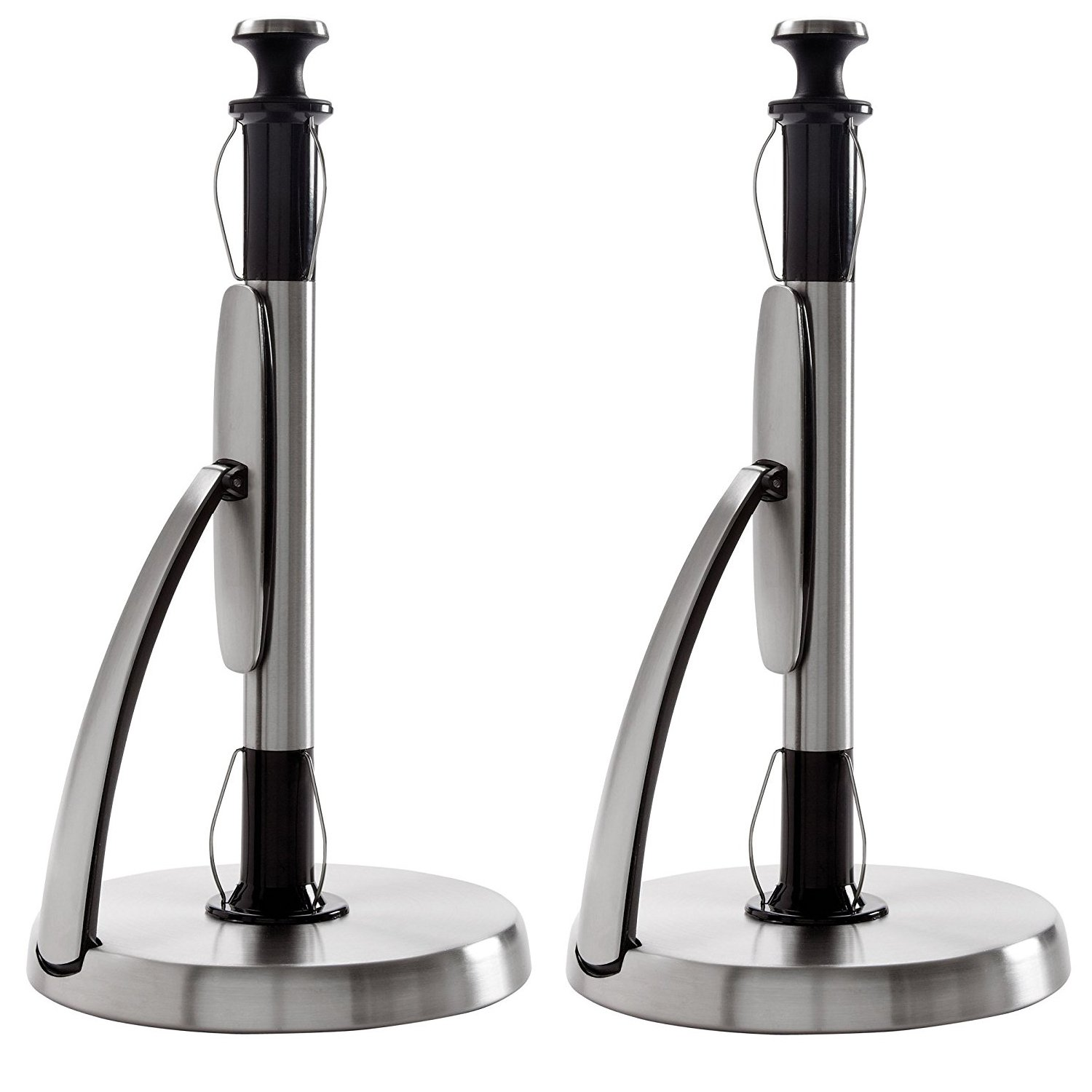 OXO Good Grips SimplyTear Standing Paper Towel Holder, Brushed Stainless Steel (2 Pack) by OXO