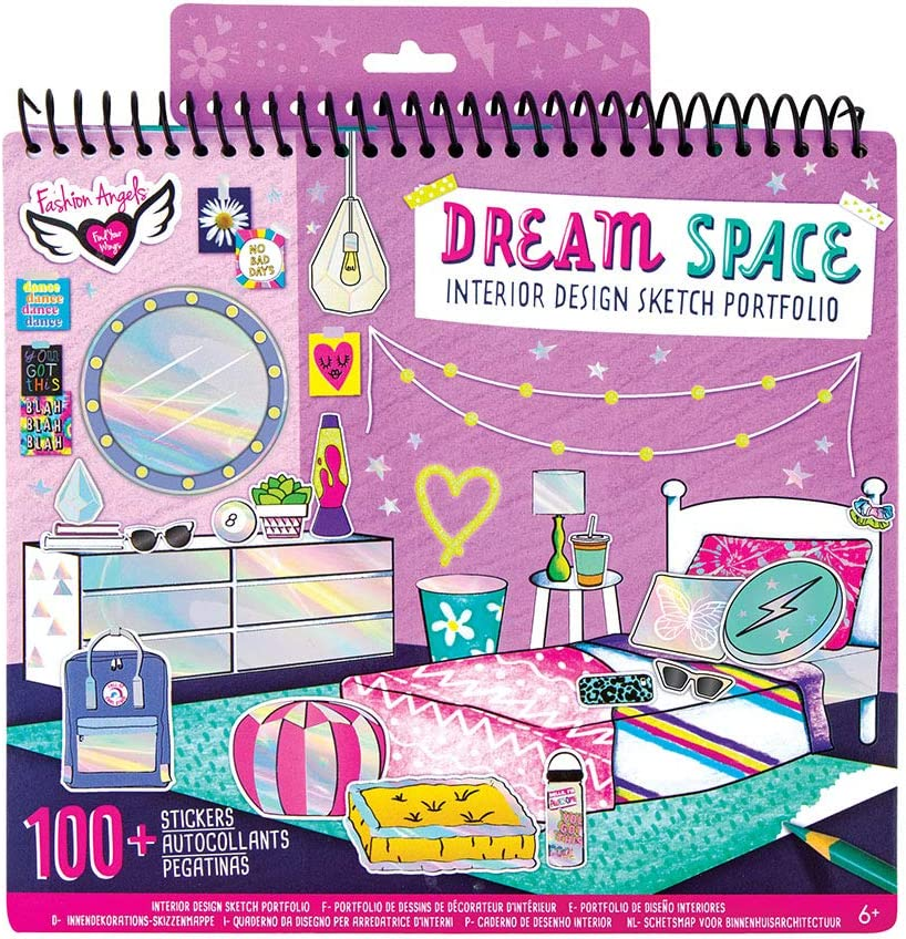 Amazon Com Fashion Angels Interior Design Sketch Portfolio 11510 Full Size Sketch Book Coloring Activity Book Toys Games