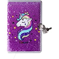 PojoTech Unicorn Magic Flip Reversible Mermaid Sequin Notebook Reversible Glitter Journal Secret Diary with Lock Gift for Adults and Kids (Purple)