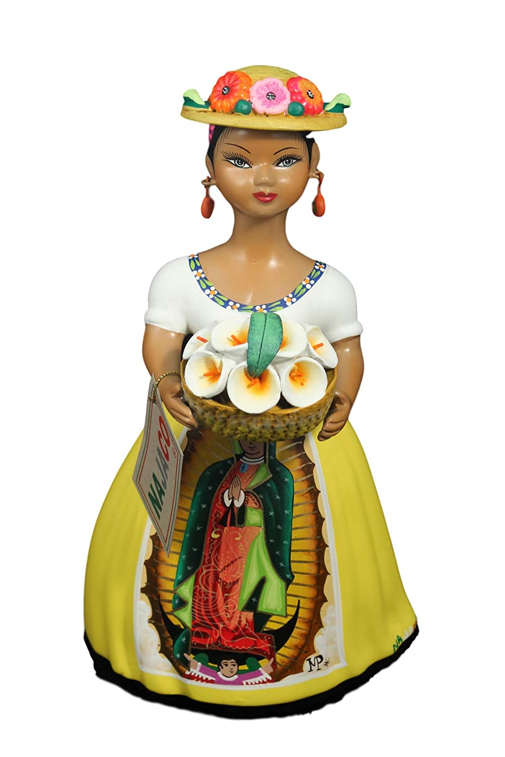 NAJACO Premium Mexican Lupita Doll, Our Lady of Guadalupe Calla Lily, (Yellow) E-01-Ye