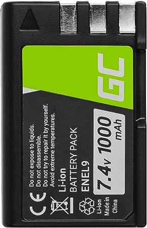 Green Cell® EN-EL9 EN-EL9A EN-EL9E Batería para Nikon D3000 D40 D40A D40C D40X D5000 D60 DSLR D40 DSLR D40A DSLR D40C DSLR D40X DSLR D60 Cámara, Full Decoded (1000mAh 7.4V)