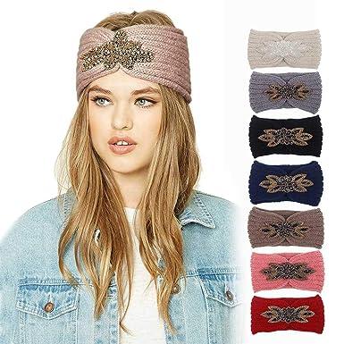 Damen Ohrwärmer Stirnband Strick Kopfband Knoten Glitzer Strass Haarband Winter Schnelle Farbe Haarschmuck Hüte & Mützen