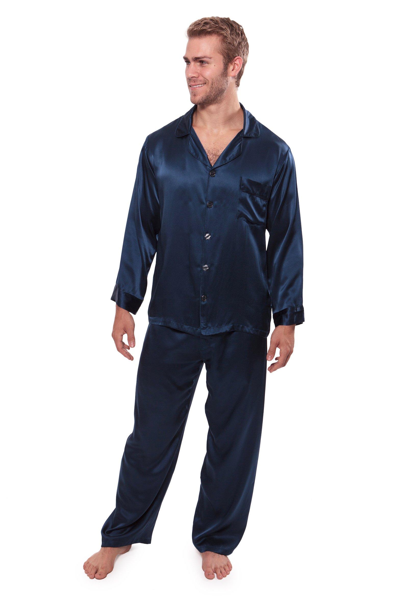 TexereSilk Men's 100% Silk Pajama Set - Luxury Nightwear Pajamas by (Milaroma, Midnight Blue, Large) Special Gifts From Wife MS0001-MID-L