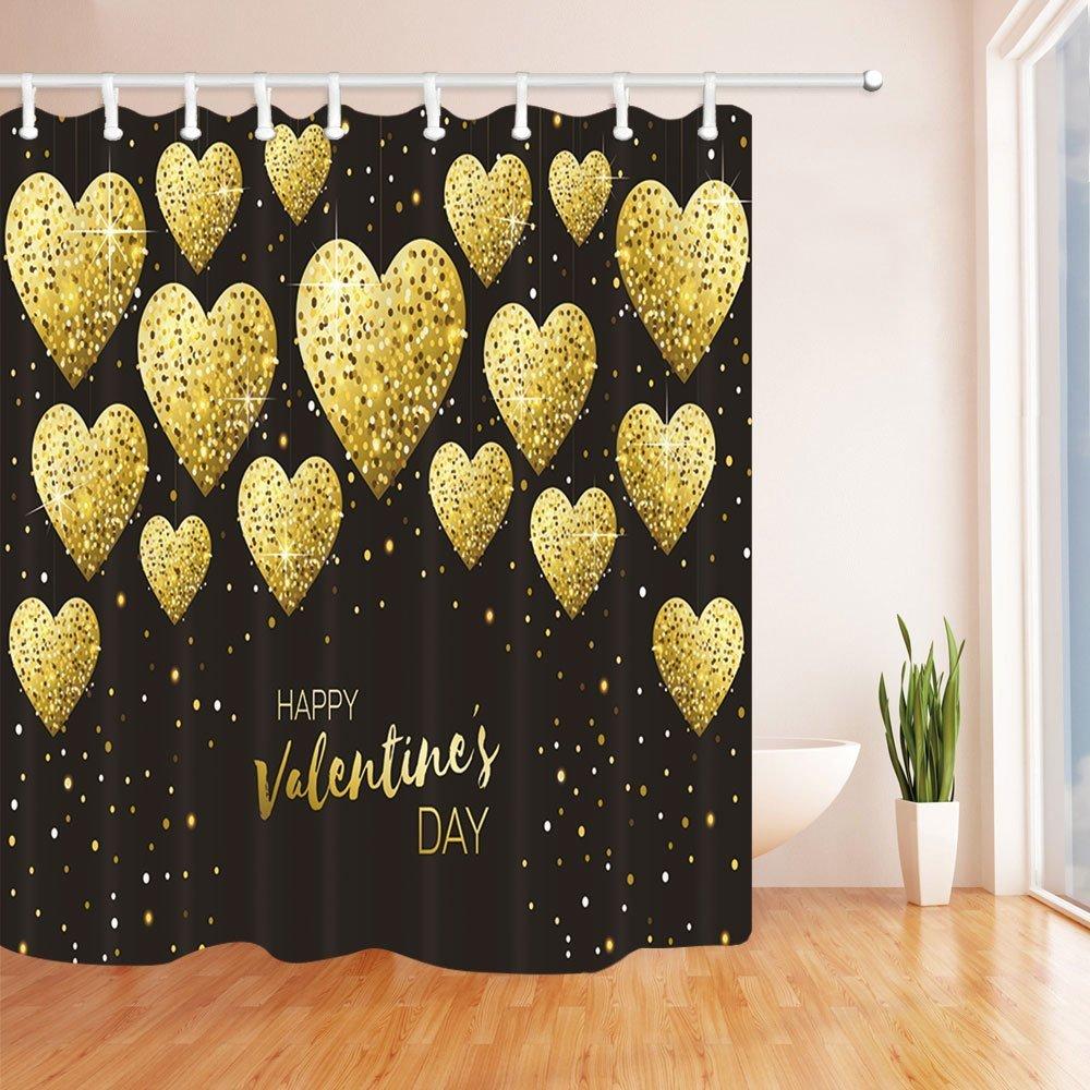 GoHEBE Valentine \'s Day Dusche Vorhang Herz Form Gold Staub Luxus ...