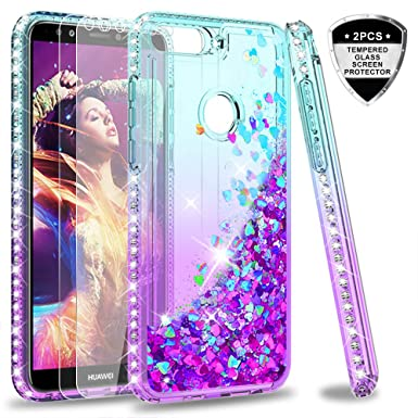 vendita calda online e3a99 2097f LeYi Case for Huawei Y7 2018 with Glass Screen Protector [2 pack], Glitter  Liquid Flow Luxury Clear Transparent Diamond Personalise TPU Shockproof ...